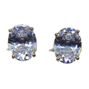 white oval CZ rose gold on silver studs Earring